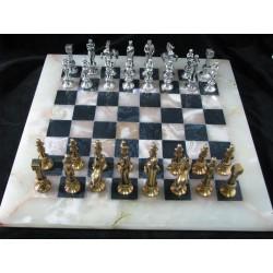 Onyks - stylowe szachy srebrzone - wyjątkowy prezent