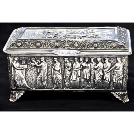 Antyczna szkatułka na biżuterię - posrebrzana, rękodzieło