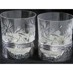 Szklanka  do whisky - kryształowa okuwana platerem - prezent dla VIP